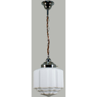 "Chain Standard Brown Cord Suspension Chrome with 8"" St Kilda Opal/Matt"