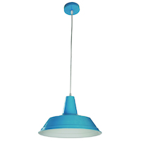 Pendant ES 60w Blue Angled Dome D355mm x L250mm 3m Cable Wty 1yr