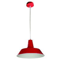 Pendant ES 60w Red Angled Dome D355mm x L250mm 3m Cable Wty 1yr
