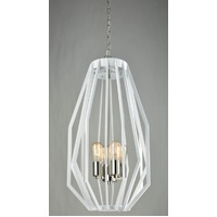 Pendant ES x 4 60w White And Polished Nickel Narrow Angular Cage D380mm x H750mm 3m Chain Wty 1yr