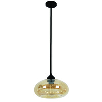 Mason 1lt ES Oval OD275mm x H200mm Glass Indoor Pendant (globes extra)